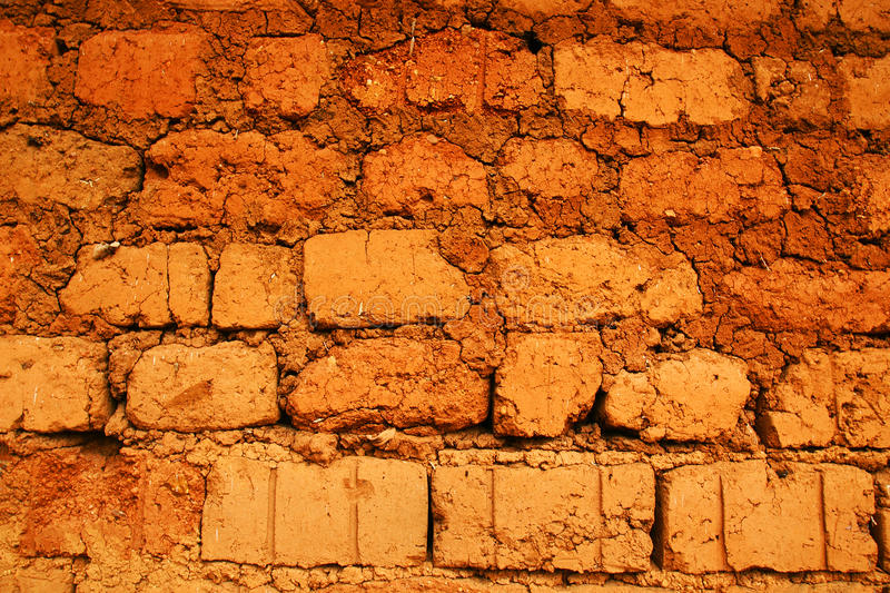Wall of red earth bricks