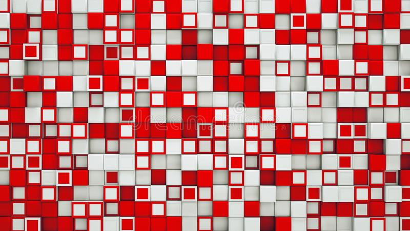 Wall of red and white 3D cubes abstract background stock illustration