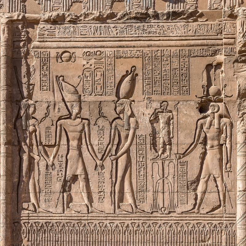Hieroglyphics and reliefs from ancient Egypt royalty free stock image