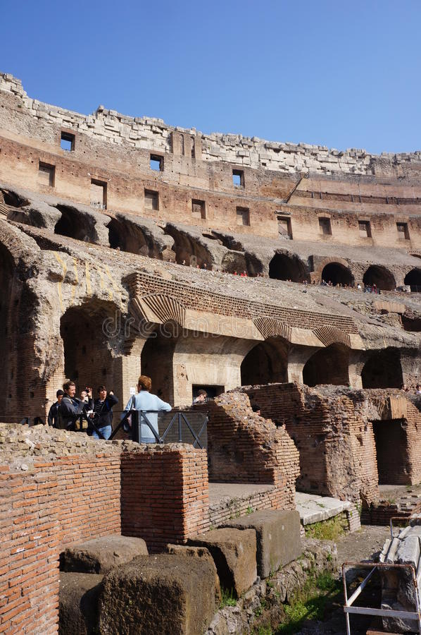 Wall of the Roman colosseum. The intern wall of the Roman Colosseum in Rome, Italy stock photos