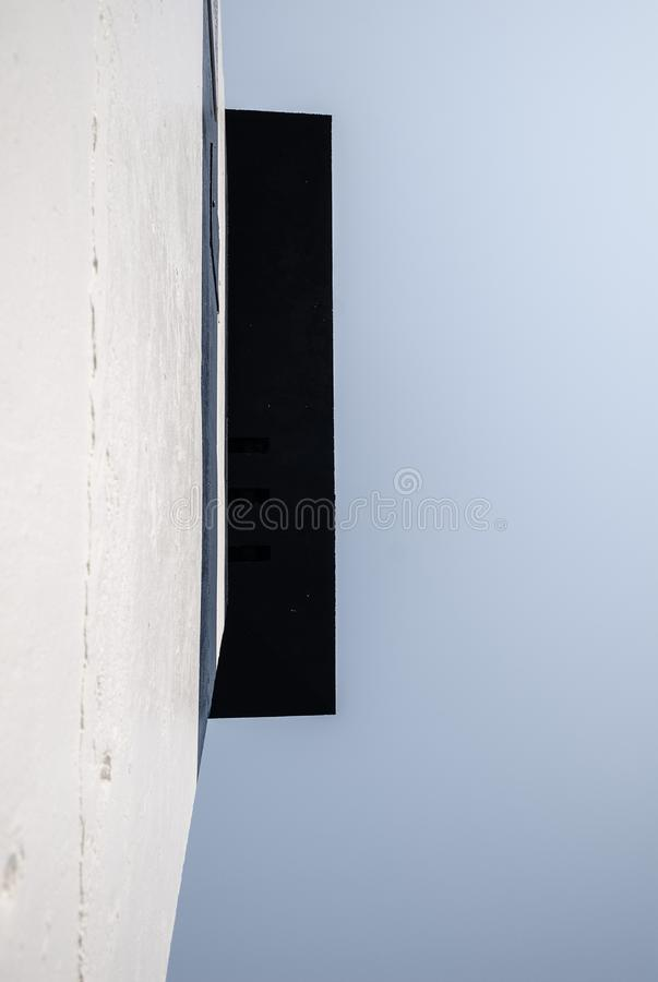 Looking up wall of lookout tower royalty free stock photo