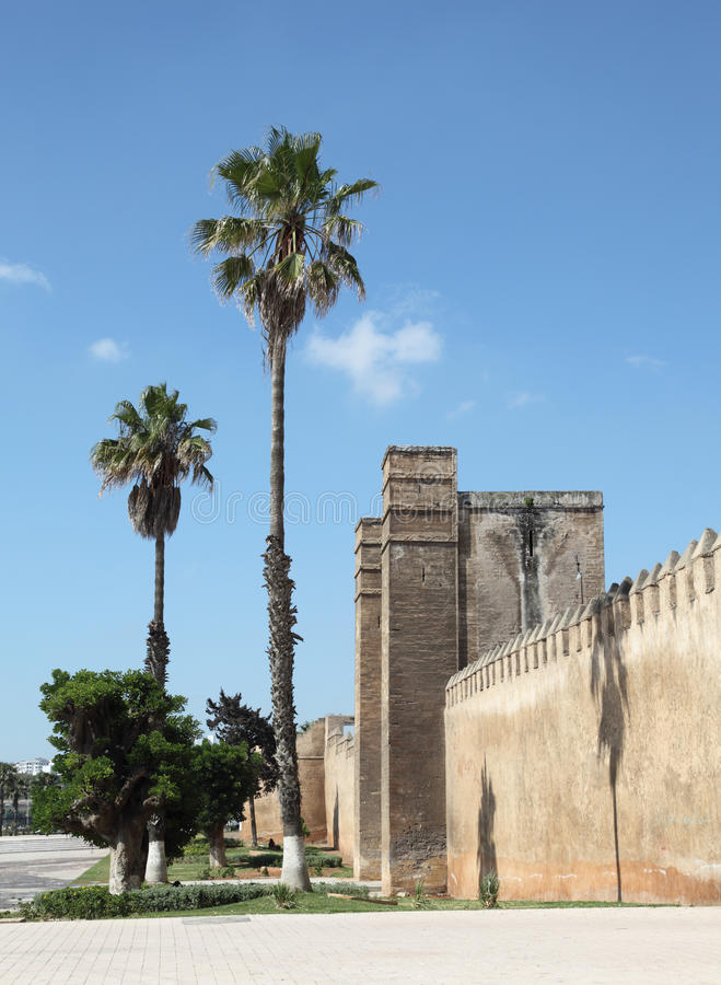 Wall in Sale, Morocco. Old fortified wall at the Medina Sale, Morocco stock photography
