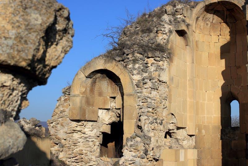 "The wall of Samshvilde Sioni. Samshvilde Sioni church, built in 759-777 by the local grandees, Varaz-Bakuri, his brother Johan and sister Deborah, called "" stock photo"
