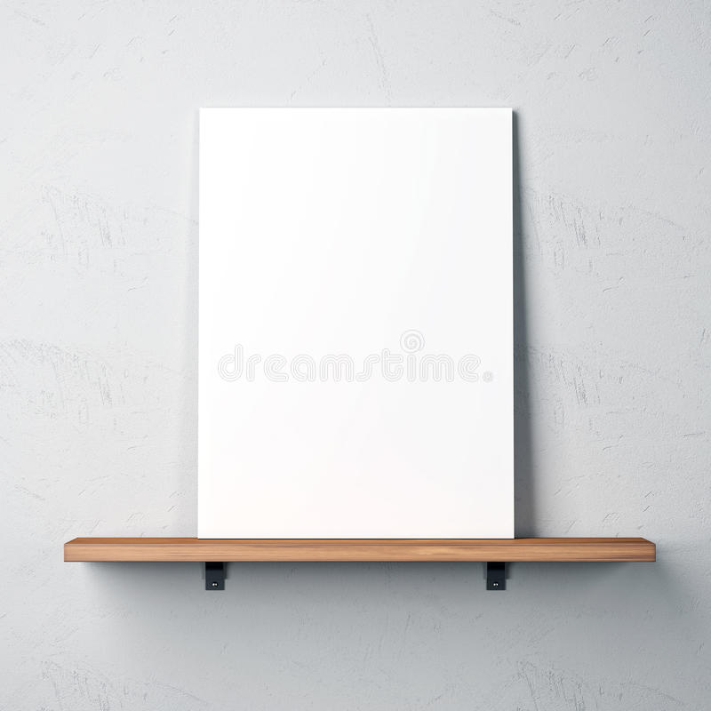 Wall with shelf and blank poster royalty free stock photos