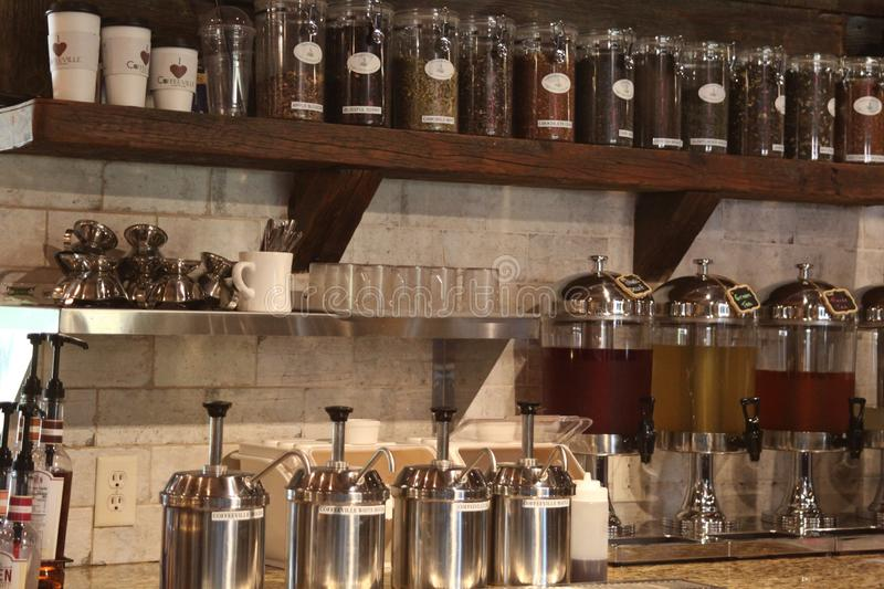 A wall of SHELF of several coffee and tea. stock photo
