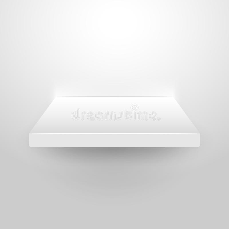 Wall shelf white 3d empty store background interior isolated. Bookshelf blank clear design gallery.  stock illustration