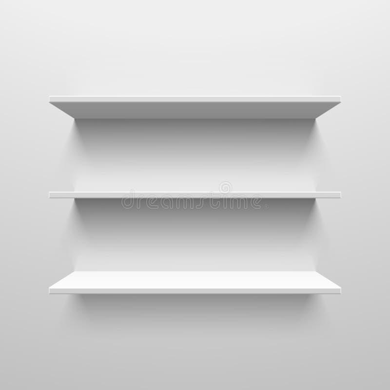 Wall shelves. Three white shelves illustration royalty free illustration
