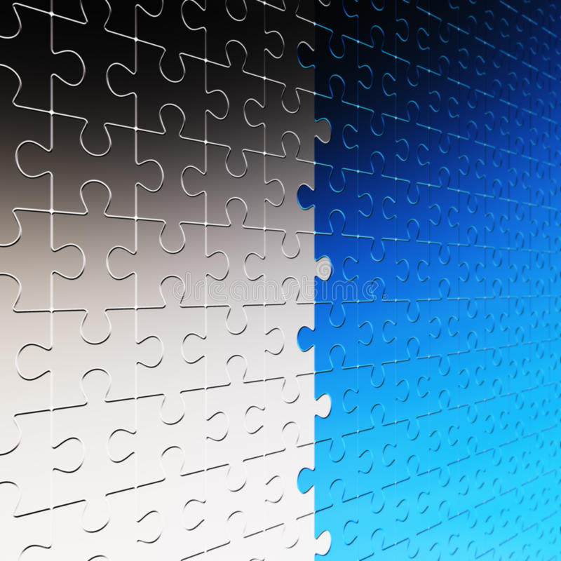 Wall of silver and blue puzzle royalty free illustration