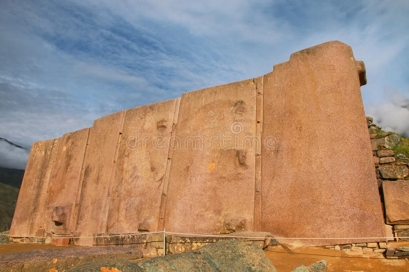 Wall of the Six Monoliths at Inca Fortress in Ollantaytambo, Per. U. Ollantaytambo was the royal estate of Emperor Pachacuti who conquered the region royalty free stock photos