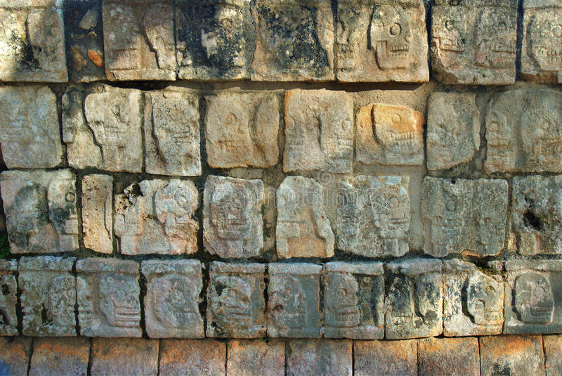 Download Wall Of Skulls At Chichen Itza Near Cancun, Mexico Royalty Free Stock Photography - Image: 22597787