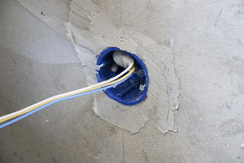 Wall Socket Installation.Work On Installing Electrical Outlets ...