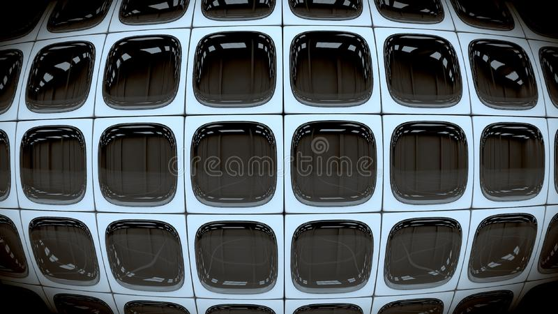 Wall of square retro turned off black and white TV screens. 3D render. stock illustration