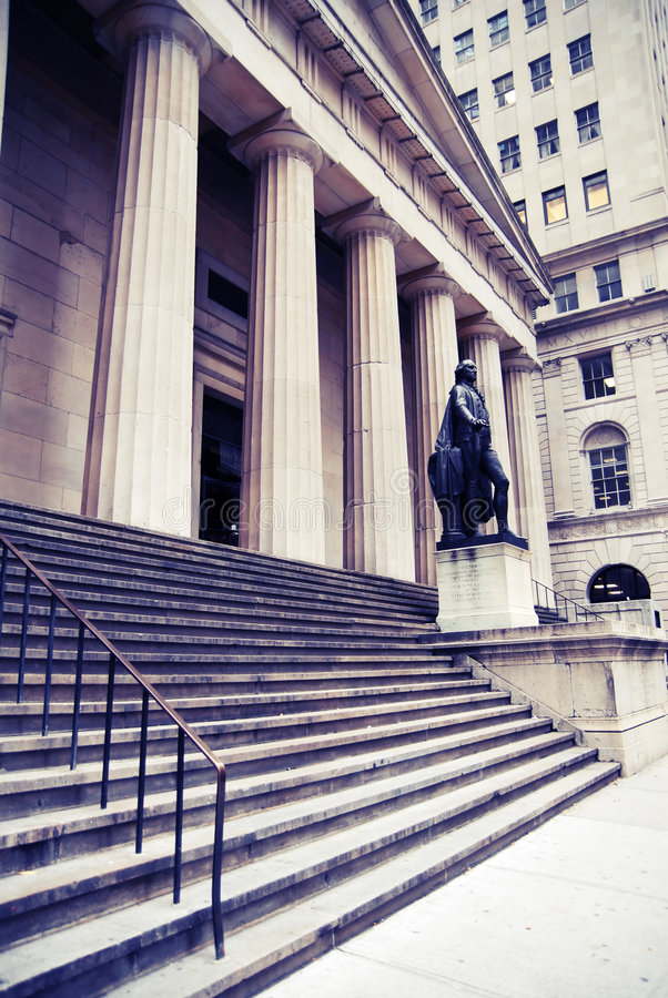 Wall St Buildings in NYC stock photography
