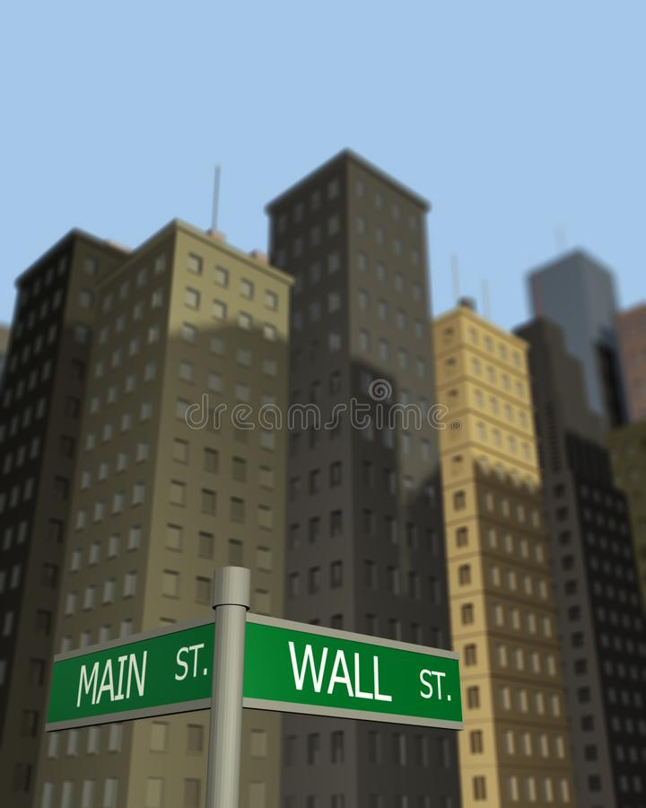 Wall St. and Main St. Street signs to Wall St. and Main St. with skyscrapers in the background royalty free illustration