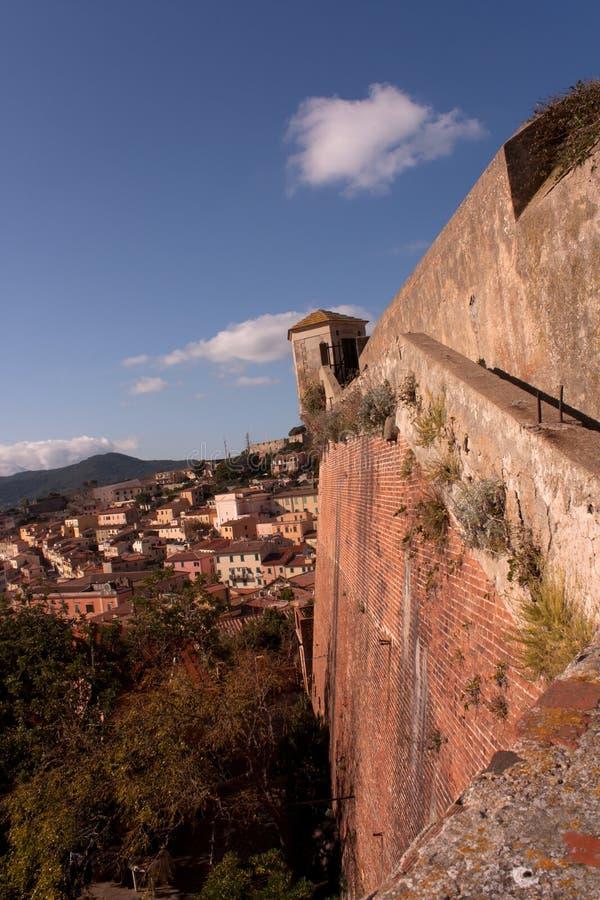 Wall Of Stella Fort, Portoferraio, Elba Island stock images
