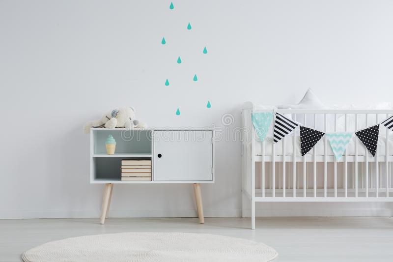 Wall stickers in baby room stock photo