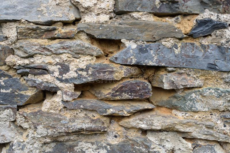 Wall stone rock texture rustic strong aged outdoor. Background royalty free stock image
