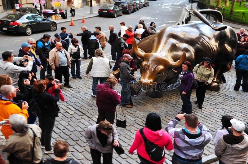 Wall Street Ładuje byk obraz royalty free