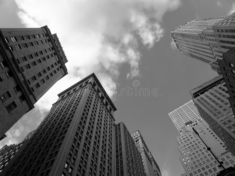 Wall Street. The sky over Wall Street royalty free stock photos