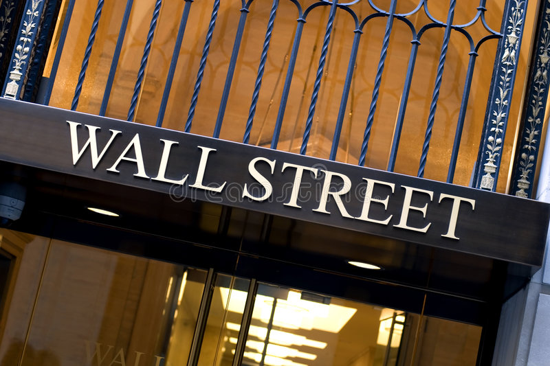 Wall street. Office building entrance on Wall street in New York city stock photo