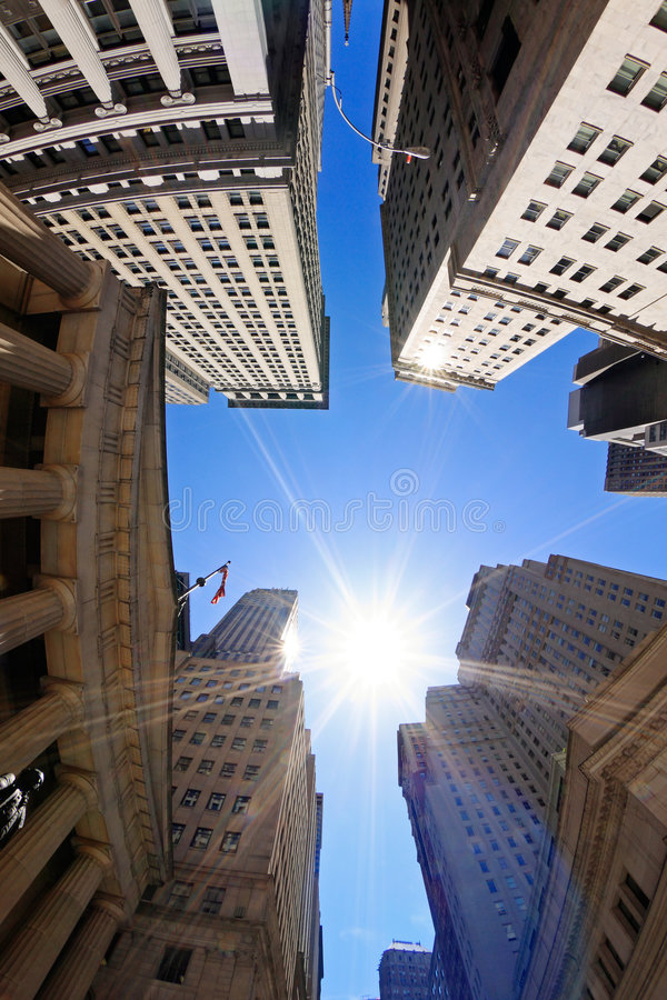 Wall Street. Fish-eye view of Wall Street buildings - New York City, USA royalty free stock images