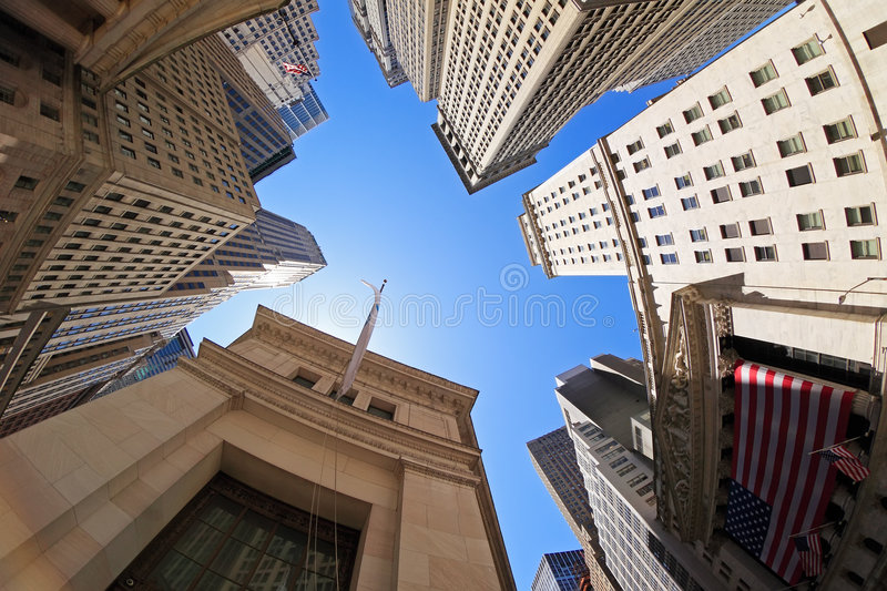 Wall Street. Fish-eye view of Wall Street buildings - New York City, USA stock photo