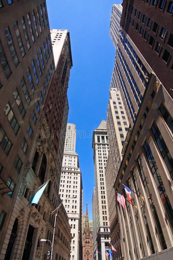 Wall Street. Low-angle view of Wall Street buildings - New York City, USA royalty free stock images
