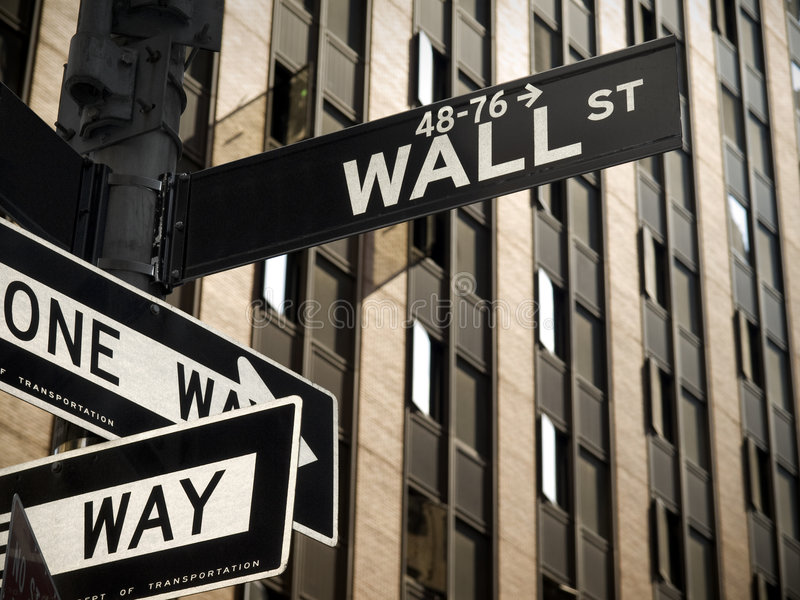 Wall Street. A Wall Street sign in Manhattan New York stock photography