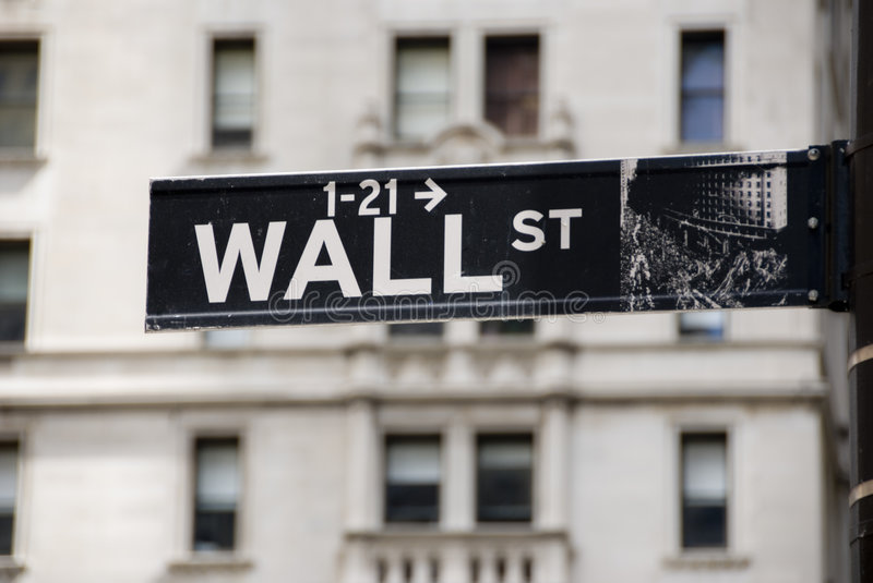 Wall Street. Sign in New York City finance district stock photography