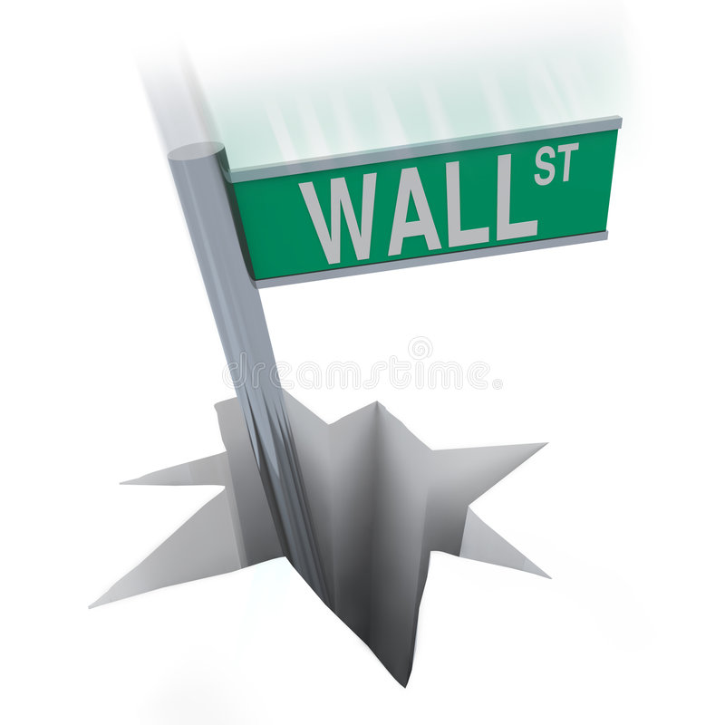 Wall Street Bear Market - Sign Falling in Hole. The famous Wall Street sign plunges into a hole, symbolizing the current bear market stock illustration