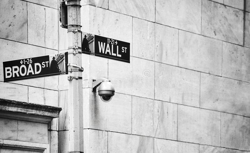 Wall Street and Broad Street signs, New York. Black and white picture of the Wall Street and Broad Street signs, New York City, USA stock image