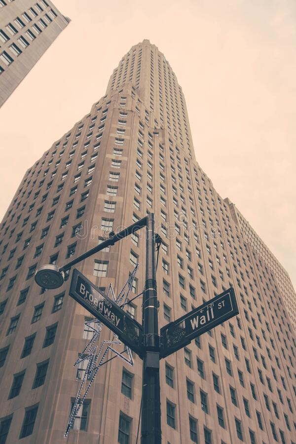 Wall Street and Broadway sign in New York stock image