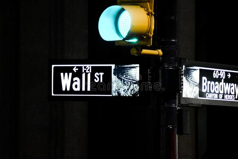 Wall Street and Broadway signs at night green light. In New York City, New York, USA royalty free stock photo