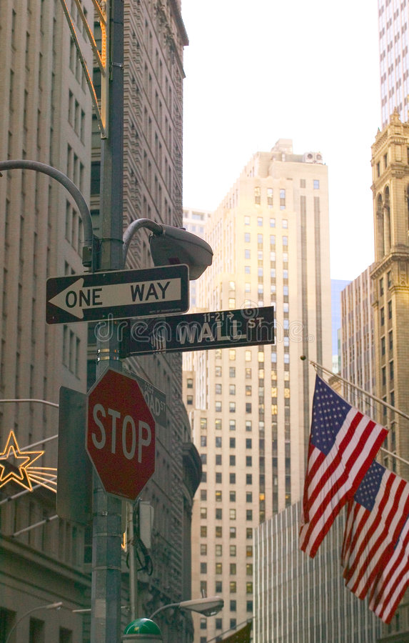 Wall Street at Christmas. Wall Street Sugb with flags and Christmas decorations