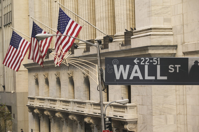 Wall Street en la Navidad foto de archivo