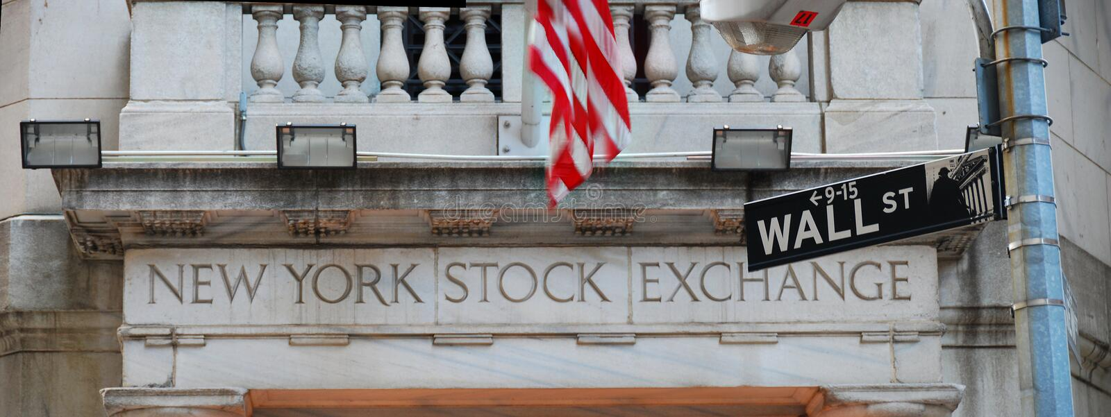 Wall Street et Bourse de New York images libres de droits