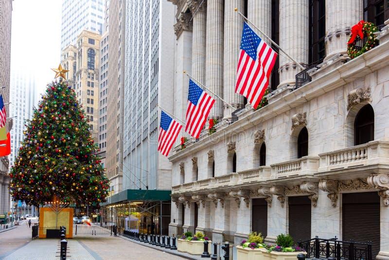 Wall Street famoso em New York City, NYC, EUA imagem de stock royalty free