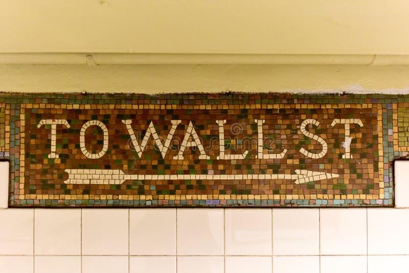 Wall Street gångtunnelstation, New York City arkivfoto