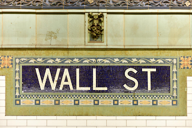 Wall Street gångtunnelstation, New York City arkivfoton