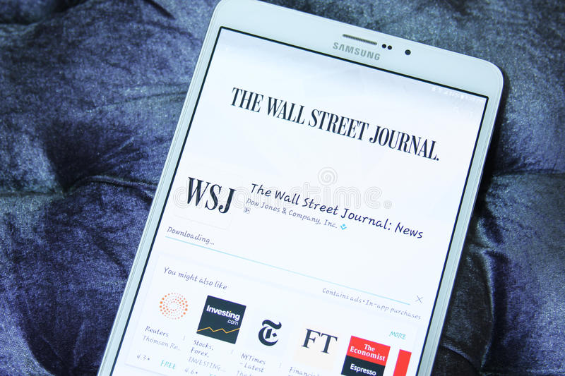 The Wall Street Journal mobile app stock images
