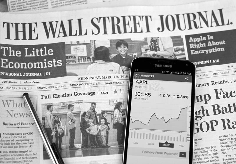 The Wall Street Journal Newspaper royalty free stock photo