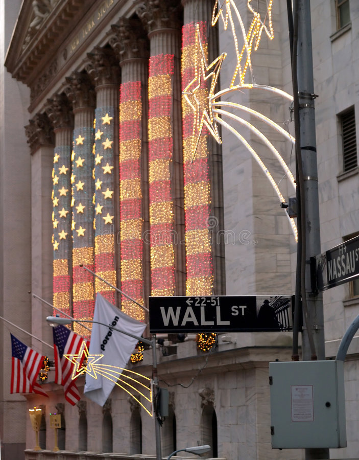 Wall Street in lower Manhattan royalty free stock photography