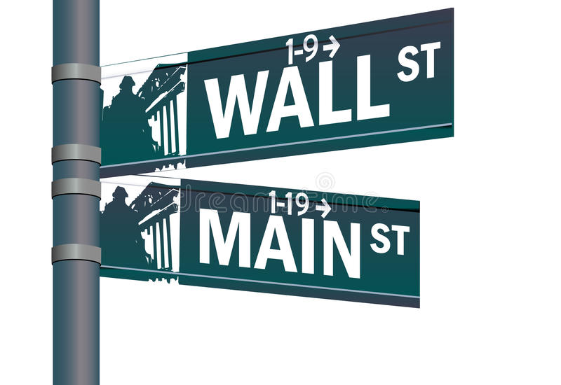 Wall street main street intersection vector illustration