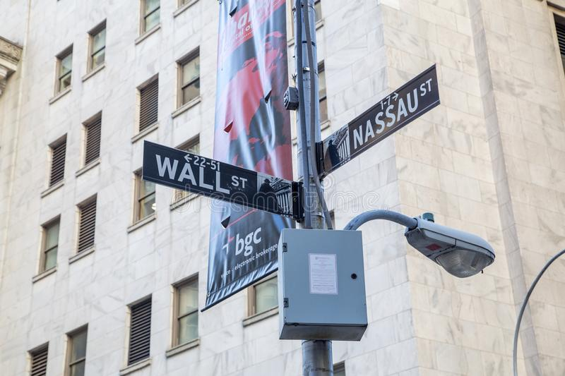 Wall Street and Nassau Street signs in NYC. New York City, United States of America - November 18, 2016: Street signs at the corner of Wall Street and Nassau royalty free stock photography