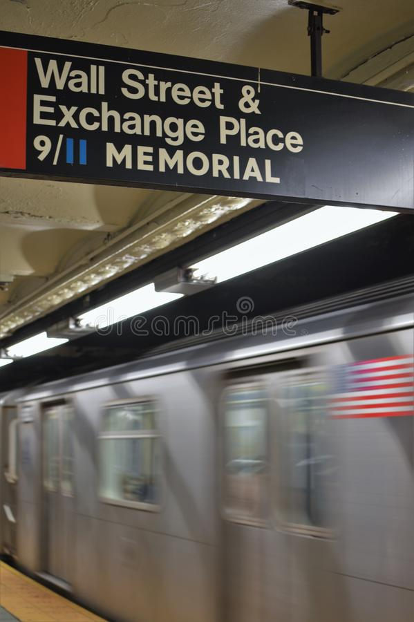 Wall Street New York City Subway Sign NYC 9/11 Memorial Transit Station royalty free stock photography