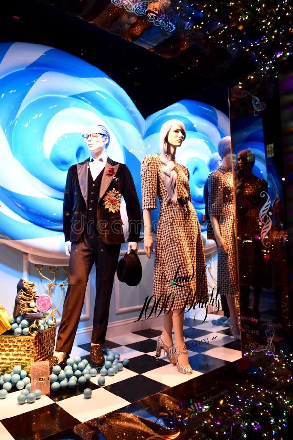 Holiday window display at Saks Fifth Avenue in NYC. New York City - December 21, 2016: Christmas Holiday window display at Saks Fifth Avenue in NYC on December stock image