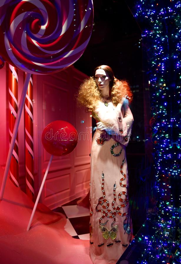 Holiday window display at Saks Fifth Avenue in NYC. New York City - December 21, 2016: Christmas Holiday window display at Saks Fifth Avenue in NYC on December royalty free stock photo