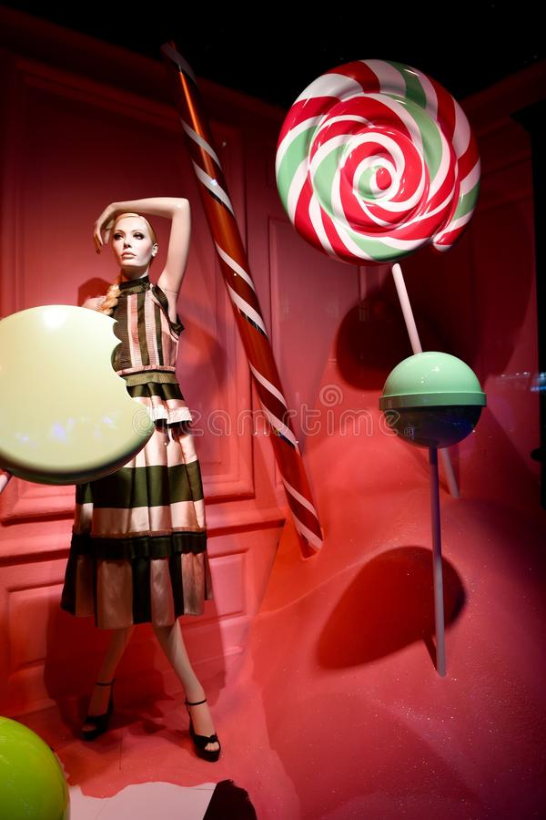 Holiday window display at Saks Fifth Avenue in NYC. New York City - December 21, 2016: Christmas Holiday window display at Saks Fifth Avenue in NYC on December royalty free stock photography