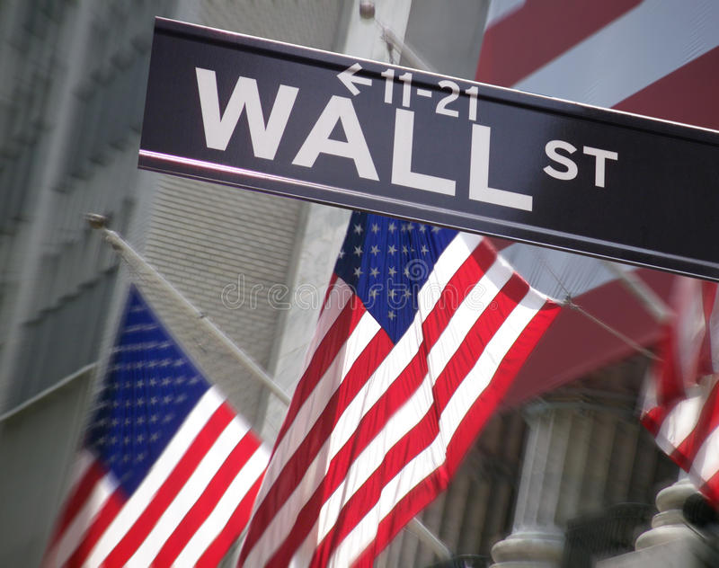 Wall Street - New York - de V.S. stock foto's