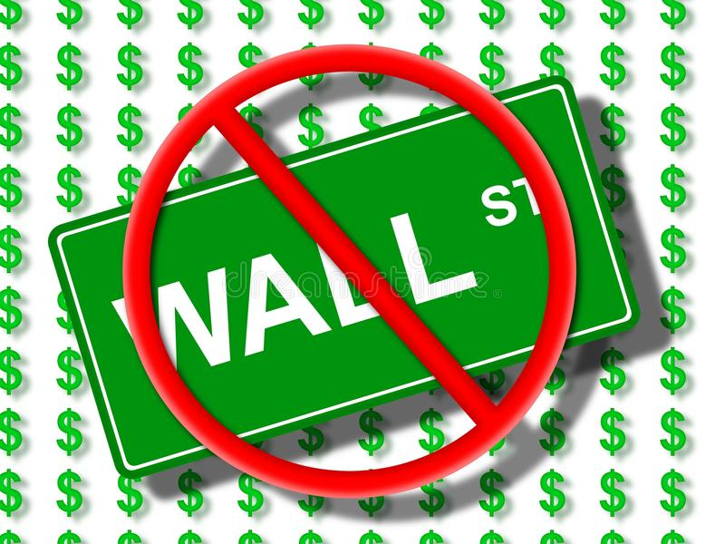 Wall Street No. Green wall street sign in front of dollar icons stock illustration